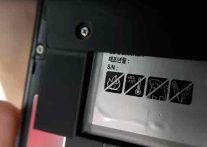 Le pictogramme du chien barré sur la batterie du Galaxy S8